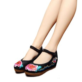 Veowalk Flower Embroidered Asian Women Casual Canvas 5cm Heels Wedges Platforms Elegant Ladies Mary Janes Cotton Pump Shoes Black - intl