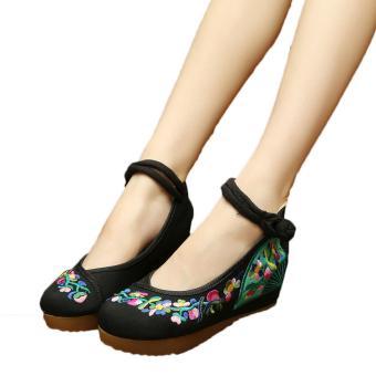 Veowalk Flower Vines Embroidered Asian Women Casual Canvas 5cm Heels Wedges Platforms Ladies Denim Cotton Jeans Pump Shoes Black - intl