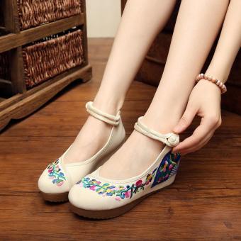 Veowalk Flower Vines Embroidered Asian Women Casual Canvas 5cm Heels Wedges Platforms Ladies Denim Cotton Jeans Pump Shoes Beige - intl