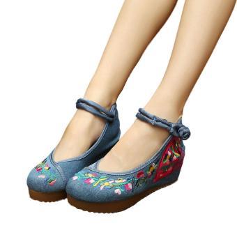 Veowalk Flower Vines Embroidered Asian Women Casual Canvas 5cm Heels Wedges Platforms Ladies Denim Cotton Jeans Pump Shoes Blue - intl