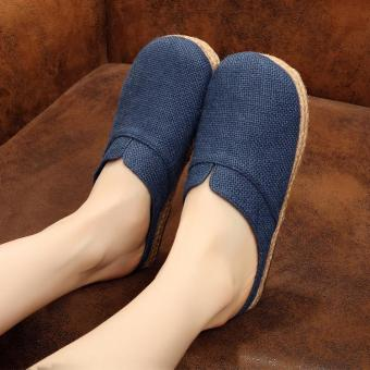 Veowalk Solid Color Women Casual Linen Flat Slides Slippers Summer Fashion Ladies Outdoor Sandals Shoes Blue