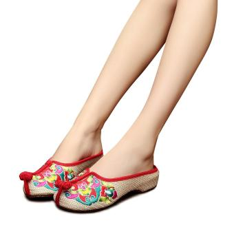 Veowalk Summer Fashion Chinese Style Casual Breathable Antiskid Embroidery Slides Shoes Flower Sandals Shoes Woman Beige