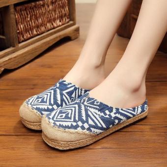 Veowalk Thailand Geomettry Pattern Women's Leisure Linen Flat Slides Slippers Comfort Ladies Canvas Sandals Shoes Blue