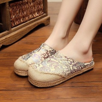 Veowalk Thailand Women Handmade Linen Flat Slides Slippers Gold Stamping Summer Ladies Canvas Outdoor Sandals Shoes
