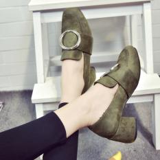 Versatile New style square head thick with high-heeled shoes (Tentara hijau)