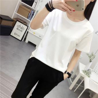 versatile-solid-color-round-neck-women39s-plus-sized-base-shirt-korean-style -short-sleeved-t-shirt-putih-1508627907-86060874- ...
