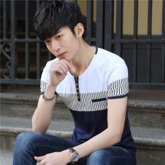 Versi Korea dari katun bergaris remaja t-shirt kemeja (Putih (3328))