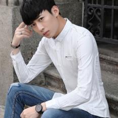 Versi Korea dari remaja Slim kemeja lengan panjang kemeja (Putih)