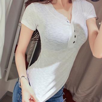 ... Versi Korea putih v neck Slim kemeja lengan pendek warna solid t shirt