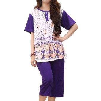 vibelle shop baju tidur setelan 300358 ungu lazada