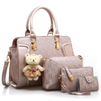 Vicria 4in1 Tas Branded Wanita - High Quality PU Leather Korean Elegant Bag Style With Bear - Emas