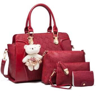 Vicria 4in1 Tas Branded Wanita - High Quality PU Leather Korean Elegant Bag Style With Bear - Merah
