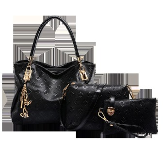 Vicria Tas Branded Wanita 3in1 Butterfly Two Tones - High Quality PU Leather Korean Elegant Bag Style - Hitam