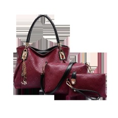 Vicria Tas Branded Wanita 3in1 Butterfly Two Tones - High Quality PU Leather Korean Elegant Bag Style - Merah