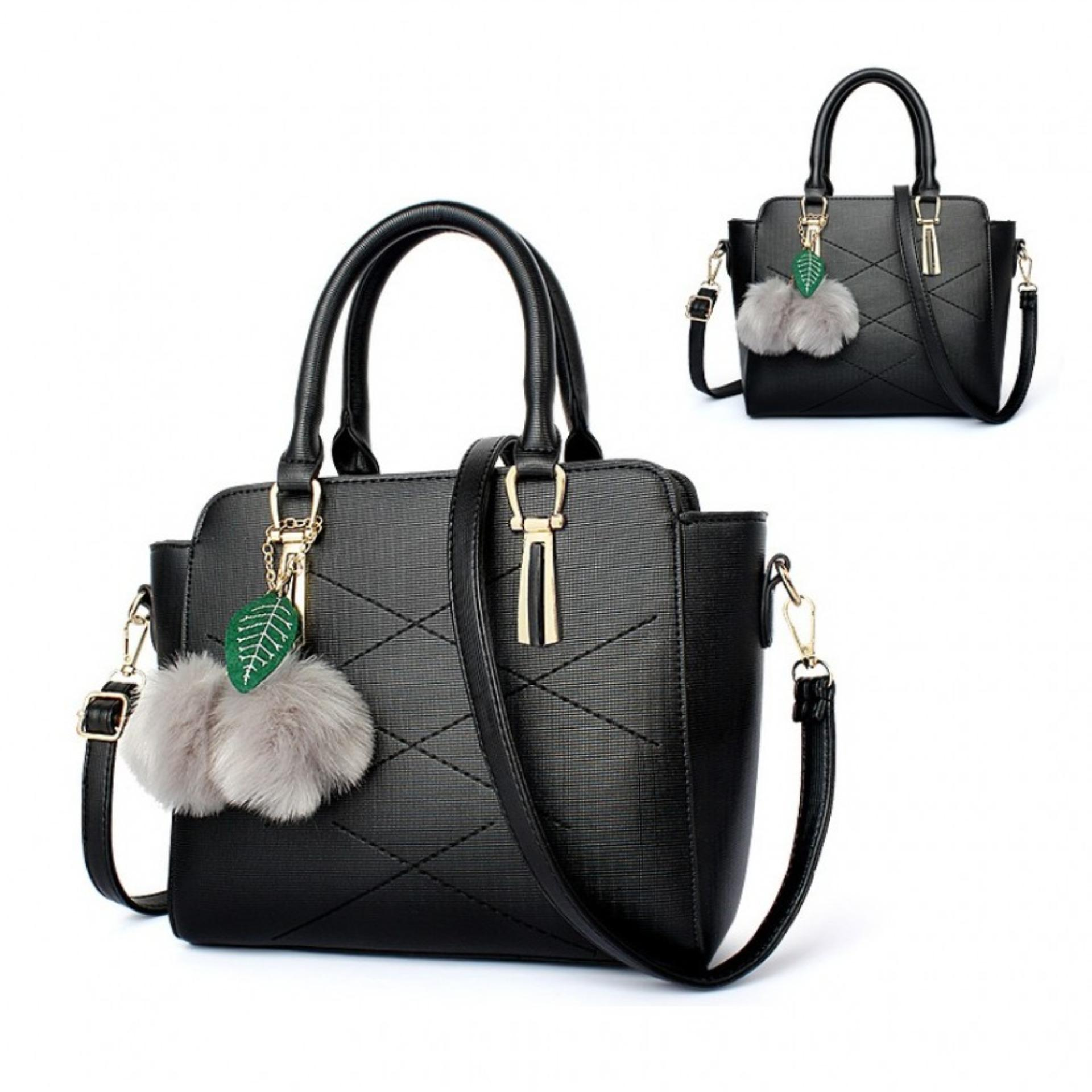 Vicria Tas Branded Wanita Korean High Quality Cube Bag Style Black Harga