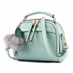 Vicria Tas Branded  Wanita With Pom pom - High Quality PU Leather Korean Elegant Bag Style - Hijau muda
