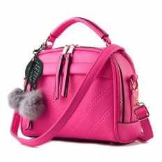 Vicria Tas Branded  Wanita With Pom pom - High Quality PU Leather Korean Elegant Bag Style - Rose
