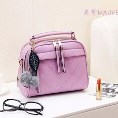 Vicria Tas Branded  Wanita With Pom pom - High Quality PU Leather Korean Elegant Bag Style - Ungu