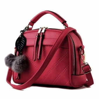 Vicria Tas Branded Wanita With Pompom - High Quality PU Leather Korean Elegant Bag Style-Red