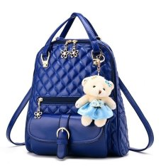 Vicria Tas Ransel Branded Flowers Ring Women Korean Elegant PU Leather - Biru