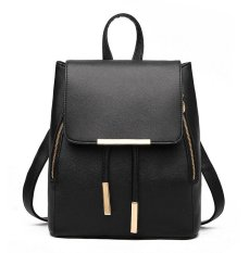 Vicria Tas Ransel Branded Wanita - Women Office Korean PU Leather - Hitam