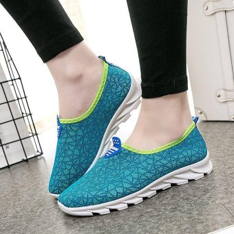 Victory Woman Running Shoes fashion Leisure sports Casual slip-on Walking shoes(Blue) - intl