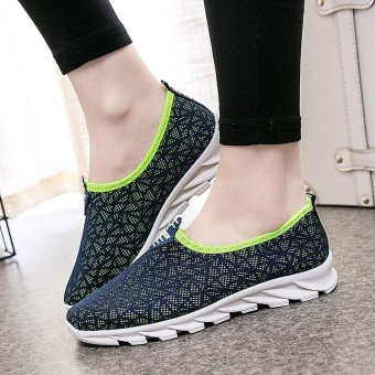 Victory Woman Running Shoes fashion Leisure sports Casual slip-onWalking shoes(Dark blue) - intl