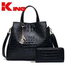 ViuiDueTure Womwen Tote Hand Bag Faux Crocodile Leather Bags Set Of 2 (Black) - Intl