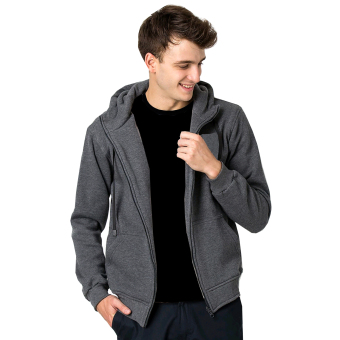 VM Jaket Polos Hoodie Zipper Korean Simple Sweater Abu Tua - Zip Dark Grey