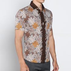 VM Kemeja Batik Casual Slimfit Pendek New Kombinasi Coklat