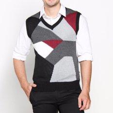 VM Sweater rajut hitam abu kombinasi - Knitt Vest -011