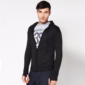 VM Sweater Rajut Zipper Hoodie Black Tangan Fashion - Hitam