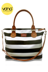 VONA Carriole (Hitam Putih) - Tas Wanita Selempang Sling Bag Shoulder Handbag Kanvas Garis Strip