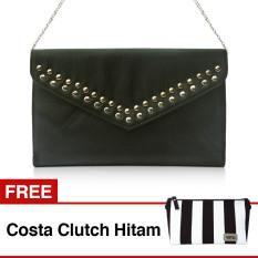 VONA Dicha (Hitam) + GRATIS Costa (Hitam Putih) - Clutch Tas Wanita Pesta Silver Studded Handbag Kecil Tali Rantai Kanvas Selempang Paket Hadiah
