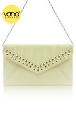 VONA Dicha (Putih Milk) - Tas Wanita Pesta Silver Studded Clutch Envelope Handbag Kecil Tali Rantai -Putih Milk