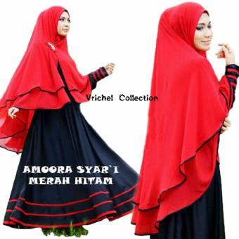 Vrichel Collection Syari Amoora (Hitam - Merah)