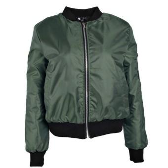 Womens Classic Padded Bomber Jacket Ladies Vintage Zip Up Biker Coat