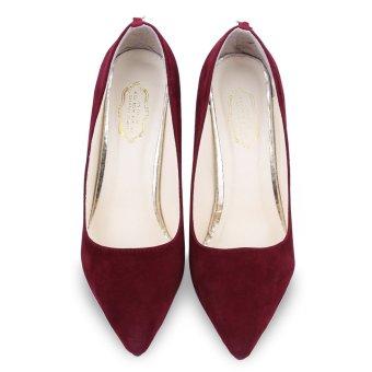 Wanita kurus tinggi tumit sepatu ujung runcing Merah Bawah (Anggur Merah) -