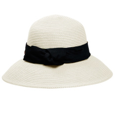 Wanita simpul pita lebar pinggir lipat pandan topi pelindung matahari pantai perjalanan topi jerami topi dengan