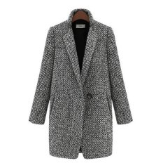 Western Style Casual Women's Fashion Houndstooth Long Cotton Blends Overcoat Coats (Grey) (Intl)