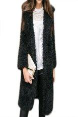 Winter Stylish Ladies Women Casual Long Coat Jacket Long Sleeve Solid Fashion Warm Outwear Top (Black)