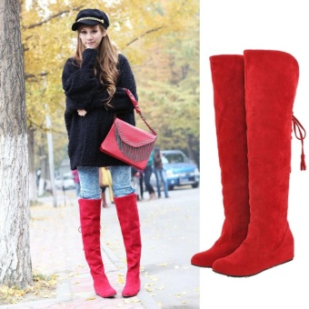Winter Warm Women's Over knee Long Snow Boots Increased Tassel Fur Thigh Shoes - intl