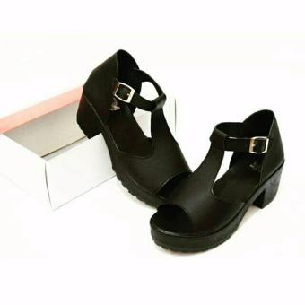 WK Fashion Sandal Wedges Mahya Formal Heels Wanita - Hitam