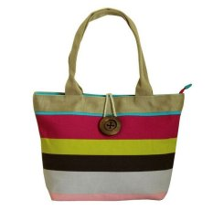 Woman Fashion Canvas Button Handbag Pink Stripe (YKFBB-47) - Intl