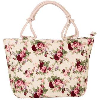 Woman Fashion Canvas Handbag Red Flower (YKFBB-08)