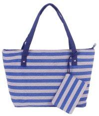 Woman Fashion Canvas ZM Handbag Blue Stripe (YKFBB-27) - Intl