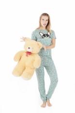 Woman Set Pajamas T-Shirt & Trousers (Print Kepala Anjing) - Sea Green