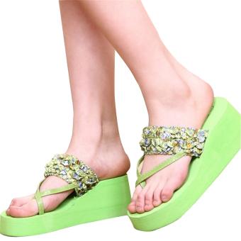 e72f0b9d00ff2 Woman Summer Style Sandals Bohemia Flower Flip Flops Platform Wedges  Slippers Shoe