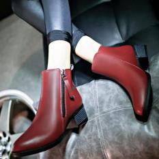 Women Boots Martin Boots Pointed Thick With Low Side Zipper England Boots (Red) - intl