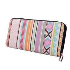 Women Canvas Purse Lady Geometric Print Long Handbag Wallet Bohemia Zip Pocket Pink